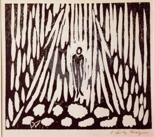 Morgner , Wilhelm KS 155 1891 Soest - 1917 Langemark Himmelfahrt Grafik, Holzschnitt 1910-15 29,6x32 71,5x51,5 Figur in vertikal-triangulärem Umraum, Darst.19x21,5cm Figur