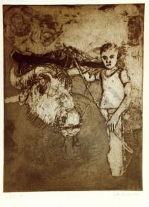 Arslan , Zeki KS 162 17.12.1949 Zonguldal/Türkei - Lippstadt o.T. aus d. Zyklus 'Kinder d. Türkei ' nach Nazim Hikmet Grafik, Kaltnadel-u. Aquatintaradierung 1982 72,5x53,5 81,5x61,5 Hütejunge, Darst.33x24,5cm Figur, Tier