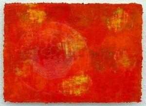 Arslan , Zeki KS 582 Bartin/Türkei Rot ist überall Malerei, Öl auf Papier gemalt 2014 21x30 0x0 Farbfeldabstraktion in rot und gelb Tönen in gerundeten Ballungen, rahmenlos A