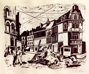 Barth , Carl KS 110 16.6.1896 Haan - 1976 Düsseldorf Straßenbau Grafik, Linolschnitt 1930 53,5x58,5 61,5x81,5 Straßenbau, Darstellung 34x41,5cm, Ausstellungskatalog s.v. Kat.Nr. 6 Stadt