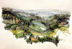 Braun , Sigrid KS 222 16.4.1937 Dortmund - Düsseldorf - Lippstadt - Hannover ohneTitel/Toskana Landschaft Grafik, Aquarell 1988 30x40 51,5x61,5 Toskana, Darst.30x40cm Landschaft