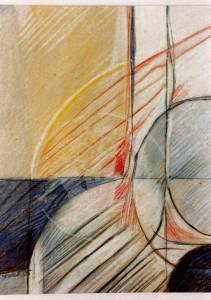 Buck , Reinhard KS 253 25.4.1947 Warendorf - Lippstadt-Overhagen o.T. Grafik, Farbstiftzeichnung 1985 34x26 51,5x41,5 abstrakte Kompositio, Darst.34x26cm A