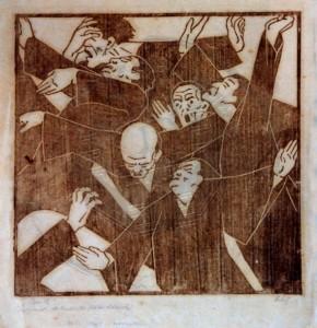 """Cobet , Fritz KS 472 1885 Lippstadt - 1963 Bremen """"Panik"""" Grafik, Holzschnitt um 1918-26 x 29,5x28 express. Figurengruppe in leichter Aufsicht, Holzschnitt zw. 1918-26, F.Cobet machte wohl zw. 1910-31 mit Heinrich Vogeler Bekanntschaft in Worpswede, Vogeler war Mitglied des Osterholzer Arbeiter- und Soldatenrates u. mußte 1926 auf behördliche Anordnung 1926 alleBildwerke zerstören Figur"""