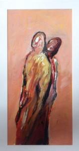Cox , Richard KS 511 28.7.1950 Holmfirth/GB - Soest Conspirators IV Malerei, Acryl auf Karton, unter Glas gerahmt 1991 39x19 61,5x43 Zwei Figuren, ppa Figur