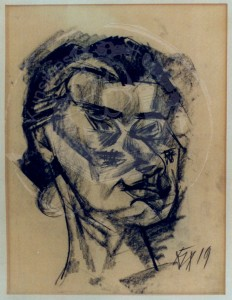 Dix , Otto KS 45 1891 Untermhaus - 1969 Singen kubistischer Kopf Grafik, Kohlezeichnung 1919 43x35 56xx53 Frauenkopf nach rechts, Figur