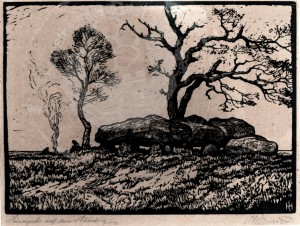 Everz , Heinrich KS 1 9.6.1882 Lippstadt - 7.3.1967 Coesfeld Hünengrab auf dem Hümling Grafik, Holzschnitt um 1930 38,9x51,4 55x69 Hünengrab, lichtgeschädigt Hümling