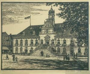 Everz , Heinrich KS 219 9.6.1882 Lippstadt - 7.3.1967 Coesfeld Lippstädter Rathaus Grafik, Holzschnitt 1931 69,5x79,5 76x86 Lippstädter Rathaus, Darst. 40,6x52,5cm Lippstadt