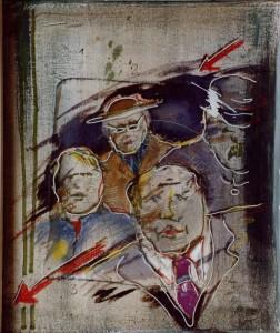 Feith-Umbehr , Manfred KS 192 1951 LP-Lipperode - Frankfurt/Main - Unterwössen 1.2.3.4.Vier Herren wartend Malerei, Acryl auf Leinwand, Hinterglasmalerei auf ddr Glasabdeckung 1988 57,5x47,3 69x58,5 4männlicheBrustbildnisse, Darst.57,5x47,3cm Figur, B