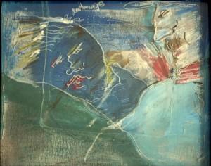 Feith-Umbehr , Manfred KS 240 1951 LP-Lipperode - Frankfurt/Main - Unterwössen Unterwegs mit einem blaublütigen Freund Malerei, Acryl auf Leinwand, Hinterglasmalerei 1989 50x60 58,5x69,5 linear figurative Deutung abstrakt experimenteller Farbflächen konglomerate, Darst.50x60cm B