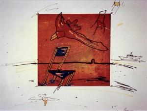 Feith-Umbehr , Manfred KS 294 1951 Lippstadt-Lipperode - 1973/74 FH/KA Münster - 1978 Frankfurt - 2004 Unterwössen o.T. Grafik, Seriegrafie, Mischtechnik 1992 47,7x50,2 50x50 Meerstück, drei Stühle, Möwen, Passepartout 24x23,9cm Landschaft/Stillleben