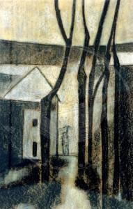Fischedick , Gisela KS 103 1.1.1939 Bottrop Dezember in der Nacht Grafik, Pastell 1978 70x44,5 80x60 städtische Straßenszene mit Bäumen, PP 80x60cm Lippstadt