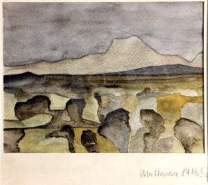 Fischedick , Gisela KS 104 1.1.1939 Bottrop Mallorca Grafik, Aquarell 1986 24x32 51,5x71,5 mallorcinische Landschaft, PP 40x50cm Landschaft