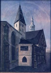 Höings , Friedrich KS 12 1908 Lippstadt 1978 Marienkirche Malerei, Ölgemälde Lippstadt 88x64 93x70 Marienkirche zu Lippstadt von Nordosten, Lippstadt