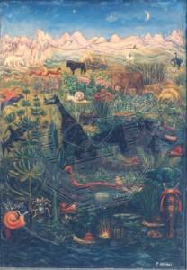 Höings , Friedrich KS 46 1908 Lippstadt 1978 Phantastische Welt Malerei, Ölgemälde um 1938 73,5x52,5 85x64,5 Landschaft, Flora und Fauna der Welt, Landschaft