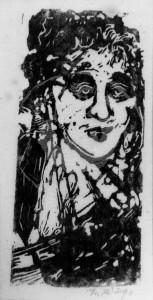 Höings , Friedrich KS 274 1908 Lippstadt - 1978 o.T. Grafik, Linolschnitt 1950er Jahre 22,5x12,5 31x22,5 Frauenbüste frontal, Darstellung 14,2x6,6cm Figur