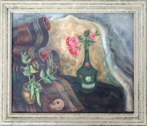Höings , Friedrich KS 518 1908 Lippstadt 1978 Stillleben mit Rose Malerei, Öl auf Hartfaser um 1934 0x0 49x57,5 Stillleben, Stillleben