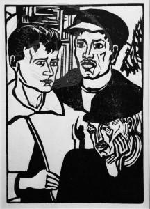 Heckel , Erich KS 113 1883 Döbeln - 1970 Radolfzell Sächsische Arbeiter Grafik, Holzschnitt 1946 21,3x15,8 36,5x26,5 Halbbilder dreier Arbeiter, Darstellung 17,4x12,2cm, Dube 379, Ausst.Kat. Nr. 17 Figur