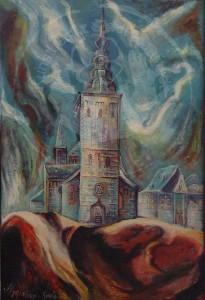 Hurtado , Enrique KS 30 1950 Zaragossa/Spanien - Lippstadt - Marienkirche Malerei, Ölgemälde Lippstadt, 1973 80,3x55 90x65 Marienkirche in Lippstadt von Westen, Lippstadt