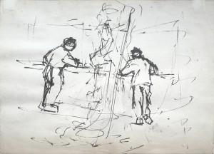Kaiser , Hans KS 527 1914 Bochum - 1982 Soest ohne Titel Grafik, Federzeichnung o.J 14,7x20,5 0x0 zwei Figuren an der Bar, Papier lichtgeschädigt Figur