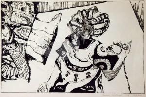Kirchner , Barbara KS 140 1938 Braunschweig - Lippstadt - München o.T. Grafik, Siebdruck 1970 50x70 51x71 Häusliche Szene, Darst.38x58cm Figur