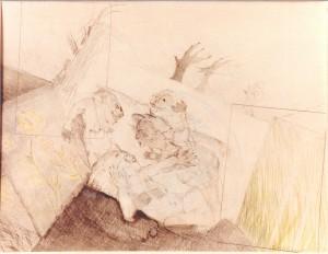 Kirchner , Barbara KS 193 1938 Braunschweig - Lippstadt - München Sommer Grafik, Graphit-und Farbstifte 1983 31x39 61,5x51,5 4 Figuren in Landschaft, Darst.29x27,3cm Passepartoutausschnitt Figur