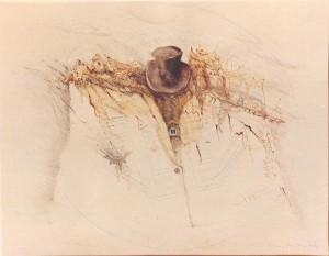 Kirchner , Barbara KS 195 1938 Braunschweig - Lippstadt - München Abschied Grafik, Graphitstift, Sepia, Aquarell. 1982 30x38,5 71,5x51,5x71,5 Hut, Hemd, Landschaftliches, Darst.30x38,5cm Stillleben