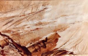 Kirchner , Barbara KS 197 1938 Braunschweig - Lippstadt - München Landschaft Grafik, Mischtechnik(Bleistift, Sepia, Gouache) 1982 35,5x54 51,5x71,5 Landschaftlich, Darst.35,5x54cm Landschaft, B
