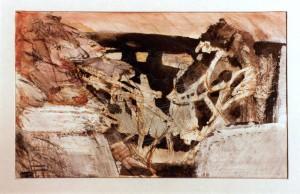 Kirchner , Barbara KS 247 1938 Braunschweig - Lippstadt - München Odysseus bei Circe Grafik, Mischtechnik 1987 12,7x19,4 51,5x36,5 abstrahierte Figuration, Darst. 12,7x19,4cm B