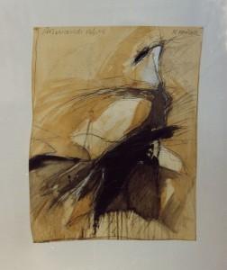 """Krüger , Markus KS 233 25.1.1958 Lippstadt - Lippstadt o.T.(aus der reihe """"Fragmente einer Reise"""") Grafik, Mischtechnik 1986 41x31,5 62,5x52 Abstraktion, Darst.41x31,5cm A"""