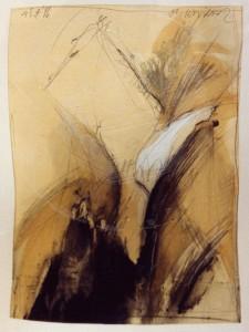 """Krüger , Markus KS 234 25.1.1958 Lippstadt - Lippstadt o.T.(aus der reihe """"Fragmente einer Reise"""") Grafik, Mischtechnik 1986 37,5x28 62,5x52 Abstraktion, Darst.37,5x28cm A"""