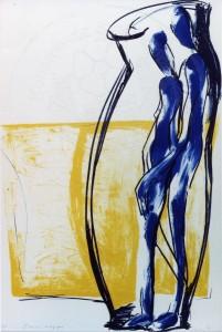 Ludwig , Gaby KS 402 1959 Lippstadt, Stud FH Köln, FH Düsseldorf, Köln L'amour magique Grafik, Lithographie 1998 66x50,5 70x55 stehendes Paar in linear umrissener Vasenform vor gelbem Farbfeld, Figur
