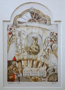 Lux , Karl Heinz KS 309 1958 LP-Dedinghausen - FH Münster - LP In Museo LEIHGABE(des Fördervereins des Heimatmuseums) Grafik, Kolorierte Radierung 1992 33,5x21 53,4x43,4 pararphrasierte Museumsmotivik, Darst. 30x18,5cm Stillleben, Landschaft, Lippstadt