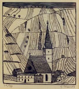 KS 79 1889 Berlin - 1981 Hamburg Tiroler Dorfkirche vor weinbergen Grafik, Holzschnitt 20er J. x 52,3x44 Tiroler Dorfkirche vor Weinbergen, Darstellung 20,3x18,1cm Landschaft