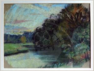 Miesler , Ernst KS 26 1879 Lippstadt - 1948 Hösel Abendstimmung am Flusslauf Grafik, Pastell 1920-25 23,2x31,1 36,0x42,8 Abendstimmung am Flusslauf (Lippe oder Anger), Lippstadt
