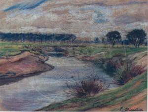 Miesler , Ernst KS 118 1879 Lippstadt - 1948 Hösel Lippelandschaft Grafik, Pastell um 1910-20 24,2x32,5 41x47 Flußlandschaft (Lippe?) mit ausgespülten Ufern, Lippe