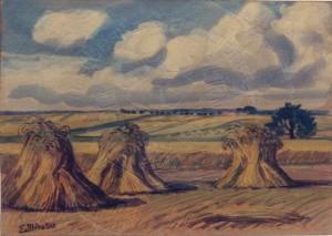 Miesler , Ernst KS 119 1879 Lippstadt - 1948 Hösel Korngarben Grafik, Gouache um 1910 11,2x15,8 29,5x33,5 Drei Korngarben in hügeliger Landschaft, Sauerland