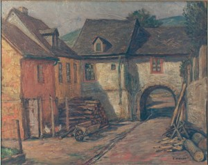Miesler , Ernst KS 284 1879 Lippstadt - 1948 Hösel Häusergruppe Malerei, Öl auf Hartfaser 1930er Jahre 40,3x49,5 49,5x59 kleinstädtische Häusergruppe in bergiger Landschaft, Landschaft