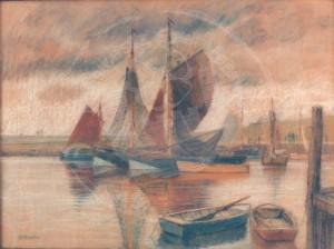 Miesler , Ernst KS 35 1879 Lippstadt - 1948 Hösel Fischerboote Grafik, Pastell um 1910 49x65 60x76 Fischerboote unter Segeln und Jollen, Nordsee