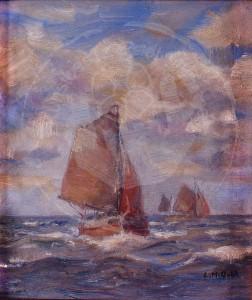 Miesler , Ernst KS 34 1879 Lippstadt - 1948 Hösel Fischkutter Malerei, Ölgemälde um 1920-30 16,8x15 21,5x19,5 Fischkutter unter Segeln auf der Nordsee, Nordsee