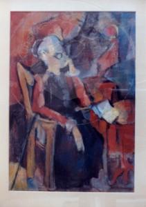 Mumme , Hugo KS 18 1898 Düsseldorf - 1980 Lippstadt Alte Frau im Lehnstuhl Grafik, Pastell Lippstadt,1950 76,5x72,5 99x75,5 alte Frau im Lehnstuhl sitzend, Figur