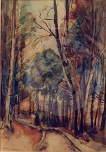 Mumme , Hugo KS 24 1898 Düsseldorf - 1980 Lippstadt Arnsberger Wald Grafik, Aquarell 39x28 59x48 Weg im Arnsberger Wald, Sauerland, Arnsberger Wald