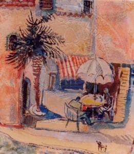 Mumme , Hugo KS 49 1898 Düsseldorf - 1980 Lippstadt Südliches Café Grafik, Gouache 1958 31,5x27,9 48x42,5 Südliches Cafe mit Sonnenschirm, Mittelmeer