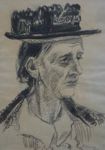 Mumme , Hugo KS 108 1898 Düsseldorf - 1980 Lippstadt Frauenportrait Grafik, Kohlezeichnung 1952 38x27 51x39 Frauenportrait, Brustbild einer alten Frau mit Hut nach rechts, Figur