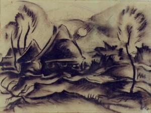 Mumme , Hugo KS 280 1898 Düsseldorf - 1980 Lippstadt o.T. Grafik, Kohlezeichnung 1924 22x28,3 41,5x51,5 Berglandschaft mit Häusern, Darst. 22x28,3cm Landschaft