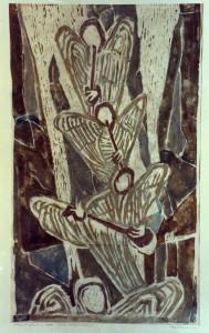 Mumme , Hugo KS 282 1898 Düsseldorf - 1980 Lippstadt Musizierende Engel Grafik, Farblinolschnitt 1966 x 65,5x47,5 Musizierende Engel, Darst. 50,5x30,5cm Figur
