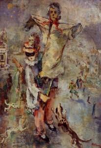 Mumme , Hugo KS 359 1898 Düsseldorf, Stud Düsseldorf, Lippstadt 1980 Mummenschanz Malerei, Öl auf Leinwand auf Holz 1947 70x46 77,5x46,5 Faschingsfigur mit Vogelscheuche, Darst 70x49cm Figur