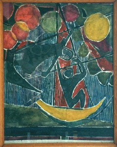 Mumme , Hugo KS 372 1898 Düsseldorf, Stud Düsseldorf, Lippstadt 1980 Junge Menschen Grafik, Linolschnitt 1966 x 61x49 geometrisierende Komposition mit 2 flächig stilisierten Figuren in 2 Schiffsschaukeln auf einem Jahrmarkt (Herbstkirmeß) mit fliegenden Luftballons, Lippstadt