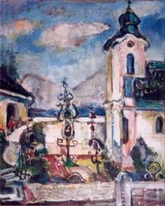 KS 465 Hugo Mumme 1898 Düsseldorf -StudAkad Düsseldorf - 1980 Lippstadt Südländischer Friedhof Malerei um 1956 x 63x53 Südländischer Friedhof/ Kirche (Adria), Mittelmeer