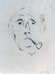 Mumme , Hugo KS 21 1898 Düsseldorf - 1980 Lippstadt Selbstportrait Grafik Lippstadt, 1959 27,5x20 43x35 Kopfselbstbildnis, frontal, mit Pfeife, Figur