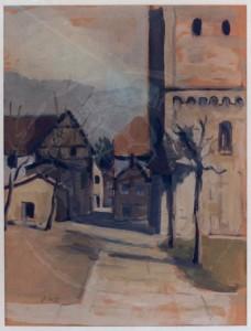 Overhoff , Eduard KS 5 1905 Lippstadt - 1945 Berlin Marienkirchturm Grafik um 1932-34 54x43 78x66 turm der Marienkirche zu Lippstadt von Südwesten, im Hintergrund die Marktstraße, Lippstadt